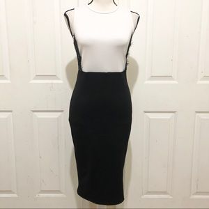 French Atmosphere White and Black Bodycon Dress